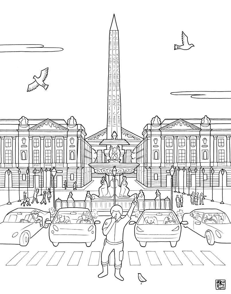 Paris coloring book for adults - Kate Larkworthy Artist Representation